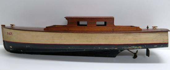 Wooden Wind Up Boat, 23""