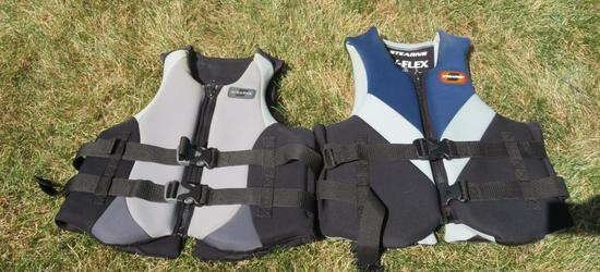Two Stearns neoprene life vests, Large, V Flex