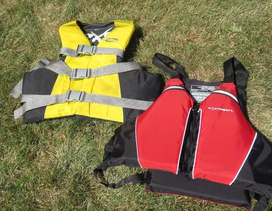 Two PFD's, Adult Universal and XL life vests