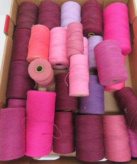 "28 spools of warp, pinks-purples and burgandy, 4"" and 6"" spools"