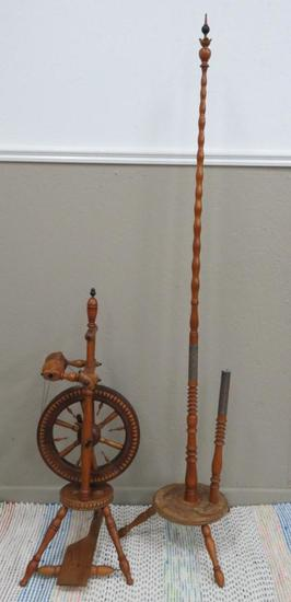 Outstanding Southern Germany Spinning Wheel & tall Distaff, chip carving & Decorative metalwork