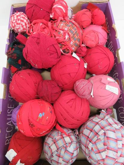 "24 Farmhouse Rag Balls, reds and pattern, 2 1/2"" to 5 1/2"" diameter"