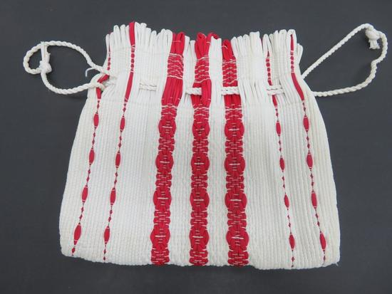 "Woven Rag Rug Purse, red and white, 10"" x 12"", drawstring"