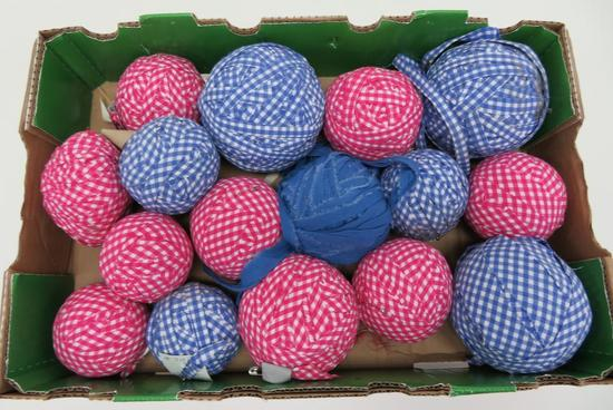 "16 Gingham Farmhouse plaid yarn balls, blue and pink, 3 1/2"" to 5 1/2"""
