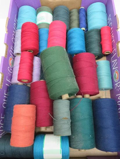 "31 Spools of carpet warp, assorted colors, 4"" and 6"""