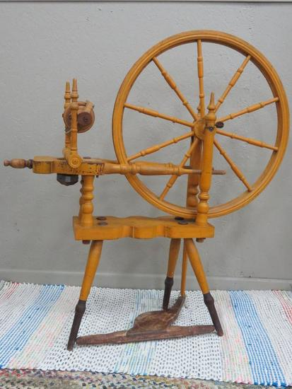 "Swedish Spinning Wheel, Rockford Illinois, 40"" tall and 24"" diameter wheel"