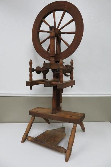"Connecticut Double Flyer Spinning Wheel, c 1810-1830, 43"" tall, 18"" diameter wheel"