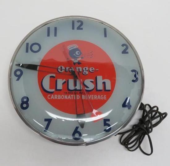 """Crushy Orange Crush clock, 15"""" diameter"""