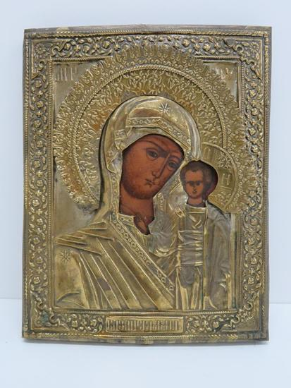 "Russian Religious Icon, 7"" x 9"", Madonna and Child"