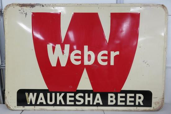 Metal Weber Waukesha Beer sign, 4' x 6'