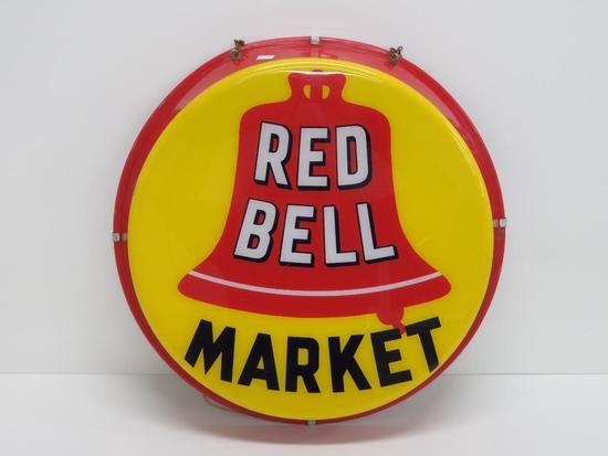 "Red Bell Market light, 18"" round, working"