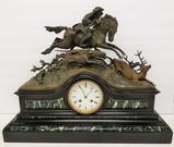 Fabulous French Ormolu Mantle clock, Mounted Elk Hunt, with key