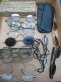 Assorted lot of vintage and antique glasses, about 16 pairs