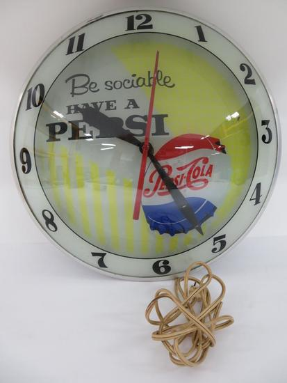 Be Social Have a Pepsi light up clock, working, 15""
