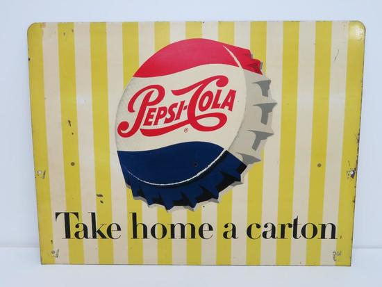 "Two sided metal Pepsi sign, Take Home a Carton, 17 3/4"" x 23 1/2"", WRF 11-38"