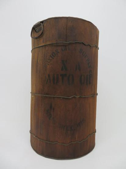 "Wooden Auto Oil can, 21"" tall and 13"" diameter"