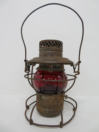 Handland AT & SF Railroad lantern, ruby globe, 9""