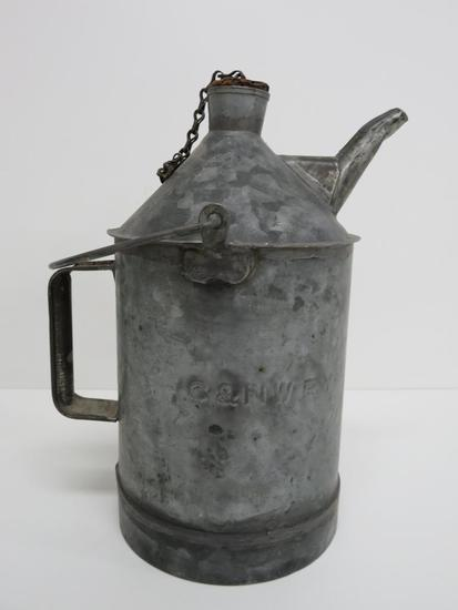 C & NW Railway oil can, 12""