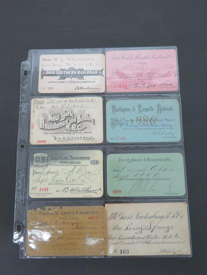 Eight 1800's railroad passes, 1886-1898