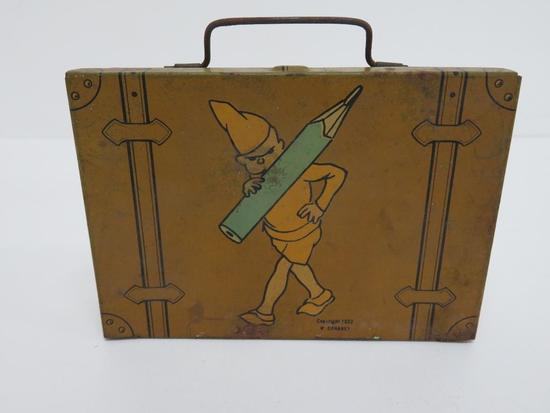 "1922 W Donahey candy sewing tin with elf, teenie weenie, 5"" x 3 1/2"""