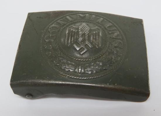 "German military belt buckle, WWII, Got Mit Uns, 2 1/2"", original green"