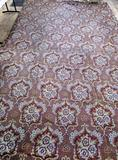 Very Large textile remnant, floral, earth tones
