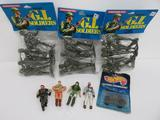 GI Soldiers Tootsietoy in packages, Hot Wheels carded action command, and four figures