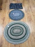 Vintage Three Rag and braided Rugs, hand made