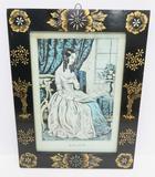 Alice period lithograph in bronze stencilled frame