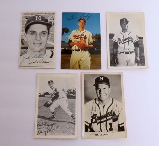 Five Milwaukee Braves photo postcards, c 1955, 3 autographed
