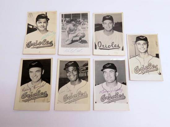 Seven 1950's real photo postcards, Baltimore Orioles, autographed