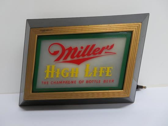 "Miller High Life light, 12"" x 9"", works"