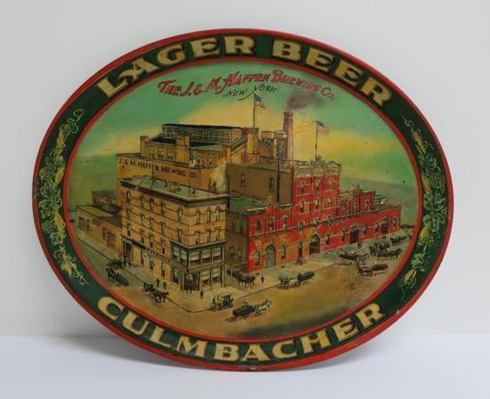 "Lager Beer JM Haffen Brewing Co beer tray, 16"", New York"