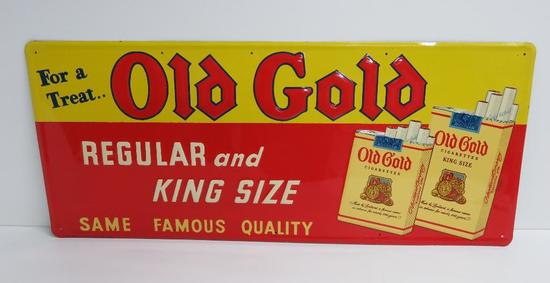 "Old Gold Cigarette Sign, Lorilland Co, #4515, 33"" x 14"""