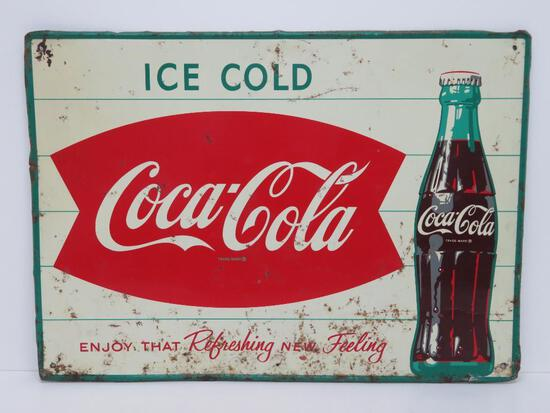 """Ice Cold Coca Cola tin sign, """"Enjoy that Refreshing New Feeling"""", 27 1/2"""" x 19 1/2"""""""