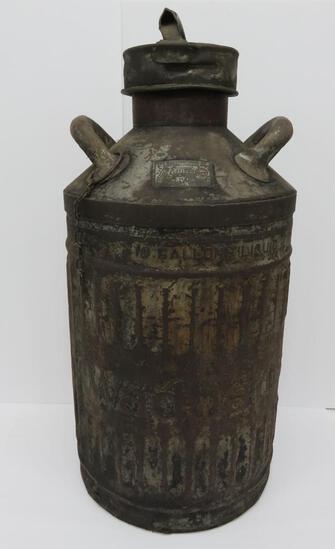 "10 gallon Wadham's oil can, Ellisco, 26"" tall"