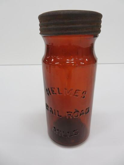 "Helmes Rail Road Jar, Mills, with lid, amber, 7 1/2"""