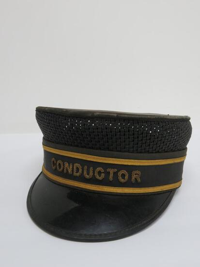Conductor hat with metal thread embroidery, Carlson and Company