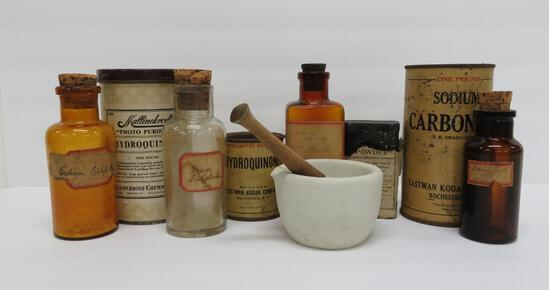 Photo developing canisters and bottles, 10 pieces