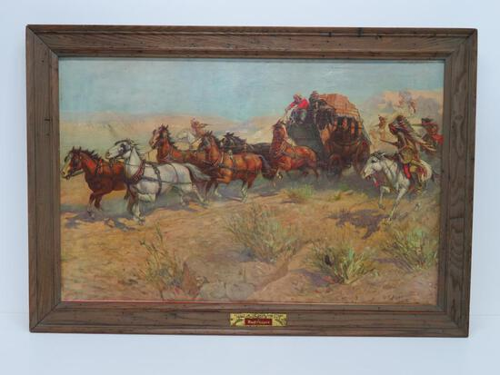 Framed canvas Budweiser Print, Attack on the Overland Stage, OE Berninghaus