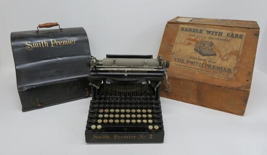 Rare Smith Premier No 2 Typewriter with metal case and wooden shipping box