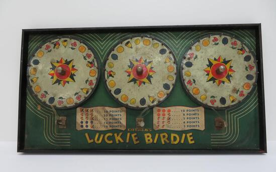 Gotham Luckie Bird, carnival wheel, 3 slot machine style spinning wheel