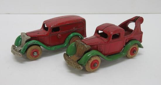 Two very nice arcade trucks, nickel plated grille, delivery truck and wrecker