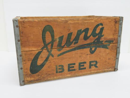 "Jung Beer, wooden beer crate, 16"" x 10"""