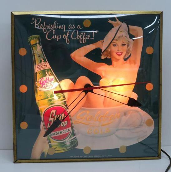 Fantastic 1959 Sun Drop Golden Girl Cola clock, Pam, Refreshing as a cup of Coffee