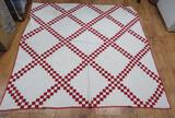 Red and White 1900's Irish Chain quilt, with appraisal