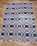 Lovely blue and red woven coverlet, mid 1800's, 55
