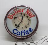 Large Butternut Coffee clock, hands move, 20 1/2
