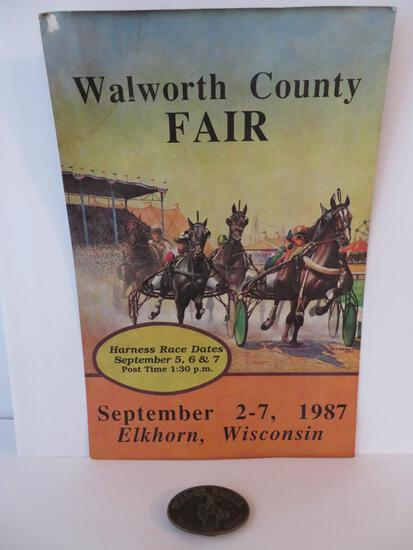 Vintage Walworth county Fair horse racing poster and Rodeo belt buckle