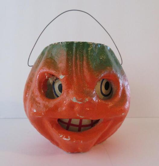 "Vintage Halloween paper mache pumpkin with paper face, 4"""